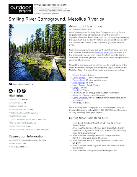 Smiling River Campground Field Guide