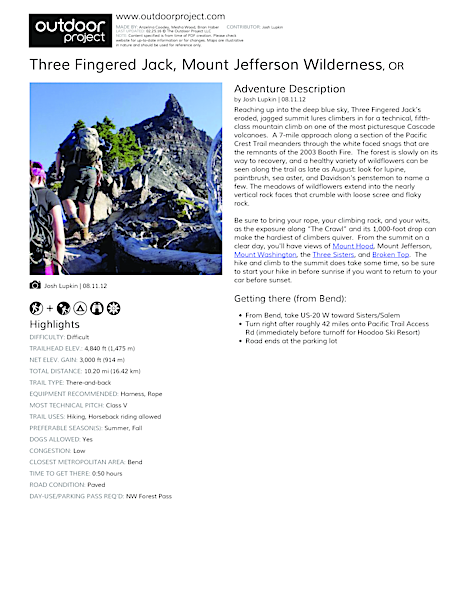 Three Fingered Jack Field Guide