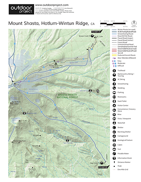 Mount Shasta: Hotlum-Wintun Ridge Map