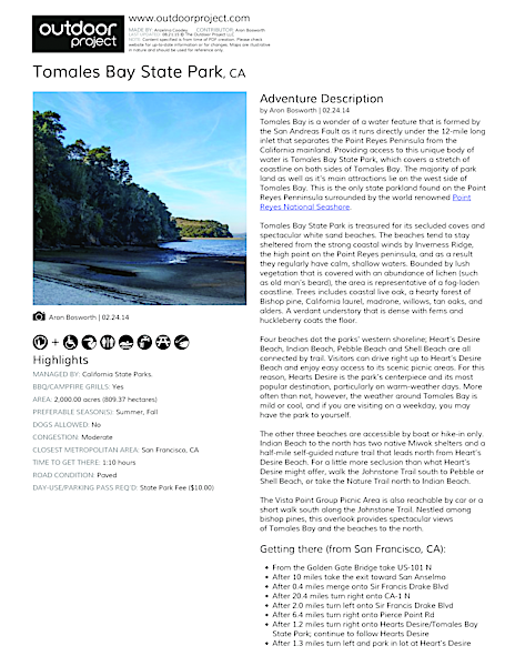 Tomales Bay State Park Field Guide