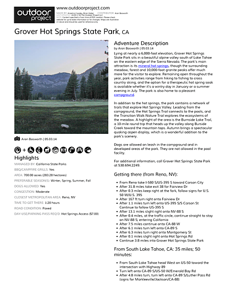 Grover Hot Springs State Park Field Guide