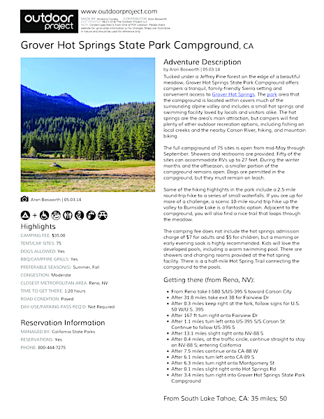 Grover Hot Springs State Park Campground | Outdoor Project
