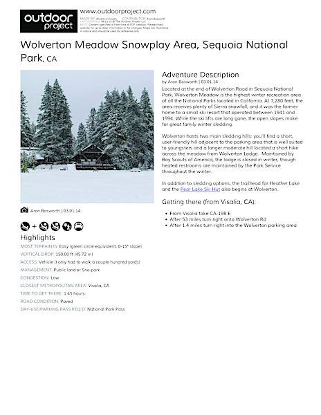 Wolverton Meadow Snowplay Area Field Guide