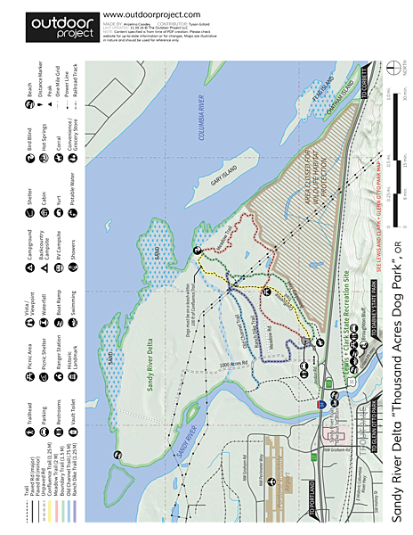 Sandy River Delta, Thousand Acres Park Map