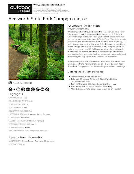 Ainsworth State Park Campground Field Guide