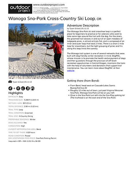 Wanoga Sno-Park Cross-Country Ski Loop Field Guide