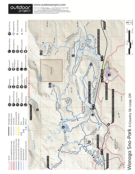 Wanoga Sno-Park Cross-Country Ski Loop Map