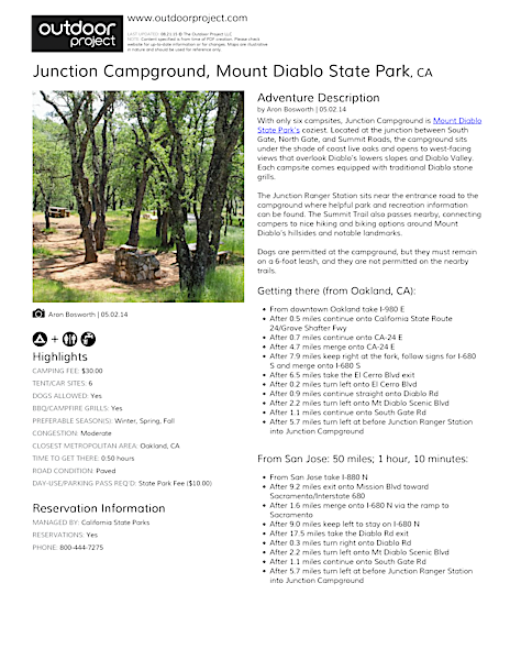 Junction Campground Field Guide