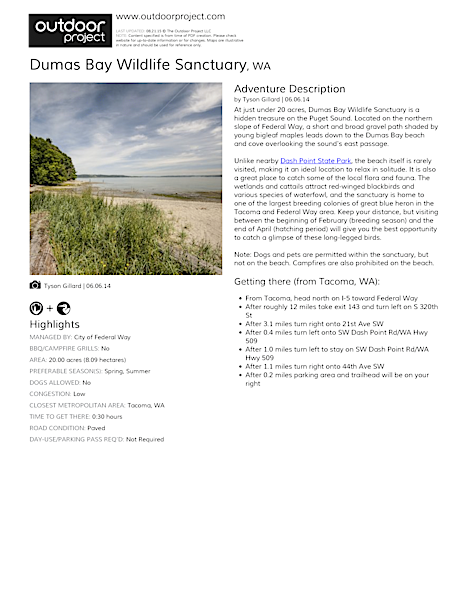 Dumas Bay Wildlife Sanctuary Field Guide