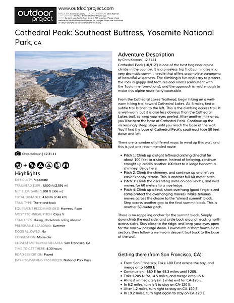 Cathedral Peak: Southeast Buttress Field Guide