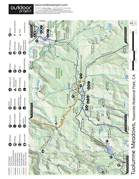 Cathedral Peak: Southeast Buttress Map