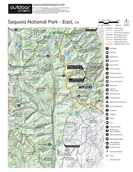 Mount Whitney, Cottonwood Pack Station Trail Map