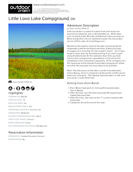 Little Lava Lake Campground Field Guide