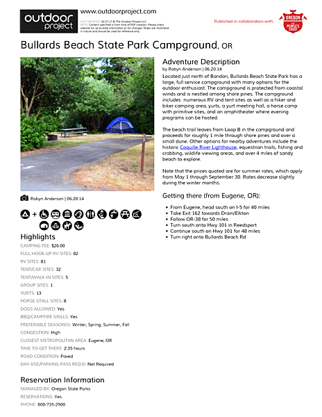 Bullards Beach State Park Campground Field Guide