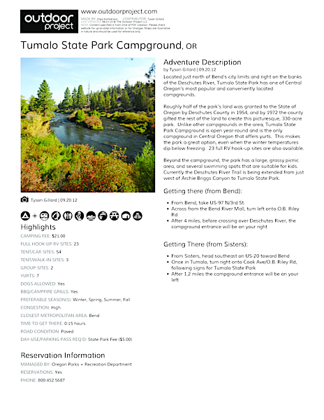 Tumalo State Park Campground Field Guide