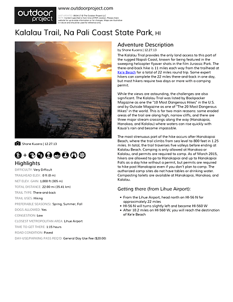 Kalalau Trail Field Guide