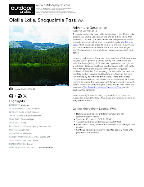 Olallie Lake Field Guide