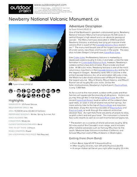 Newberry National Volcanic Monument Field Guide
