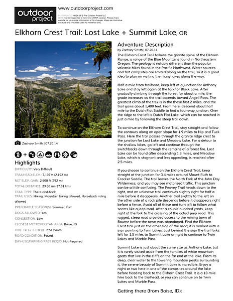 Elkhorn Crest Trail: Lost Lake + Summit Lake Field Guide