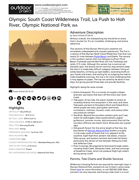 Olympic South Coast Wilderness Trail, La Push to Hoh River Field Guide