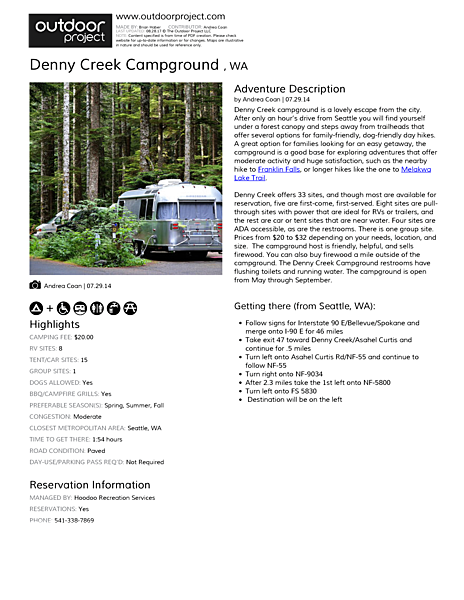 Denny Creek Campground  Field Guide