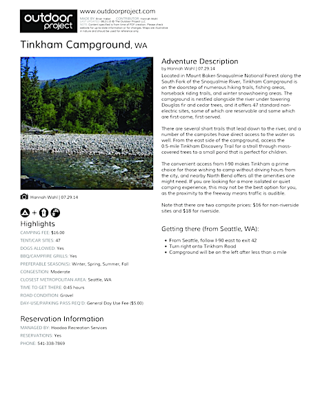 Tinkham Campground Field Guide