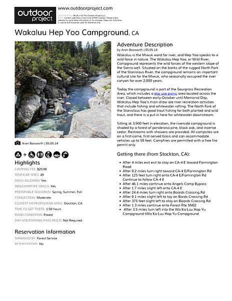 Wakaluu Hep Yoo Campground Field Guide