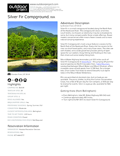 Silver Fir Campground Field Guide