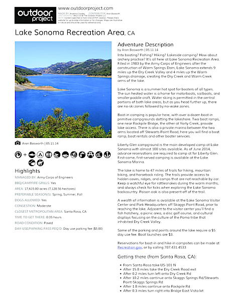 Lake Sonoma Recreation Area | Outdoor Project