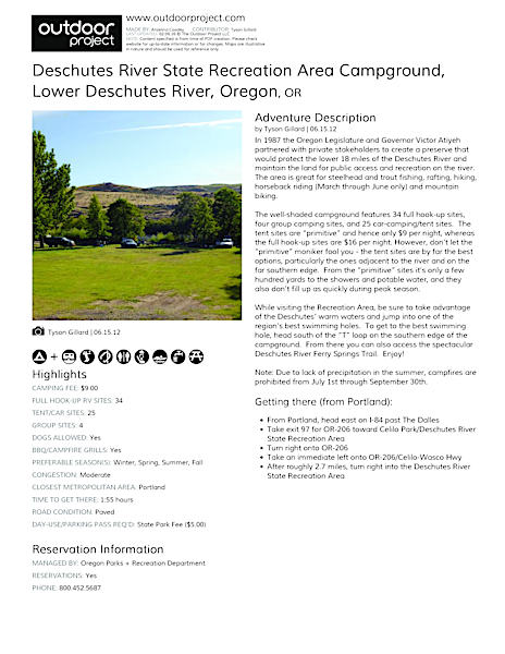 Deschutes River State Recreation Area Campground Field Guide