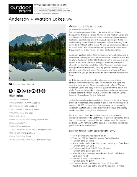 Anderson + Watson Lakes Field Guide