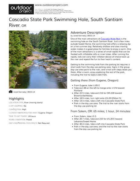 Cascadia State Park Swimming Hole Field Guide