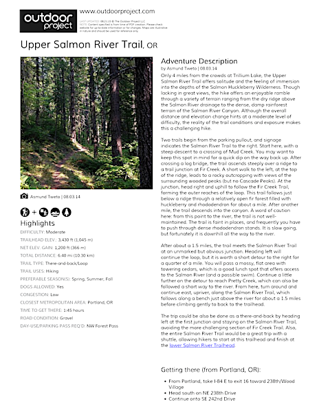 Upper Salmon River Trail Field Guide