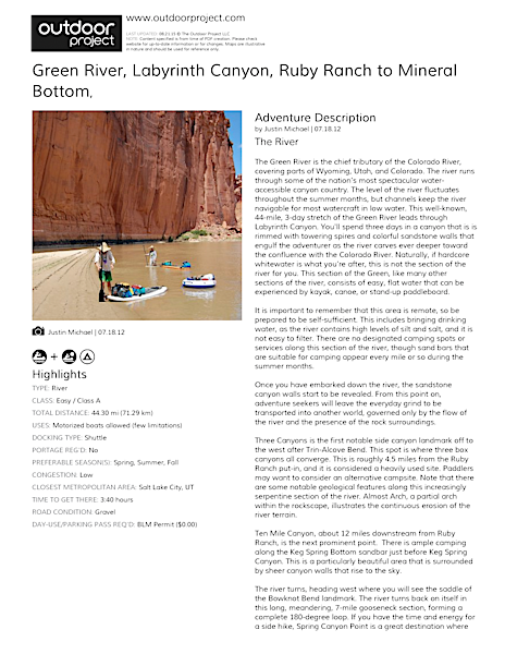 Green River, Labyrinth Canyon Field Guide