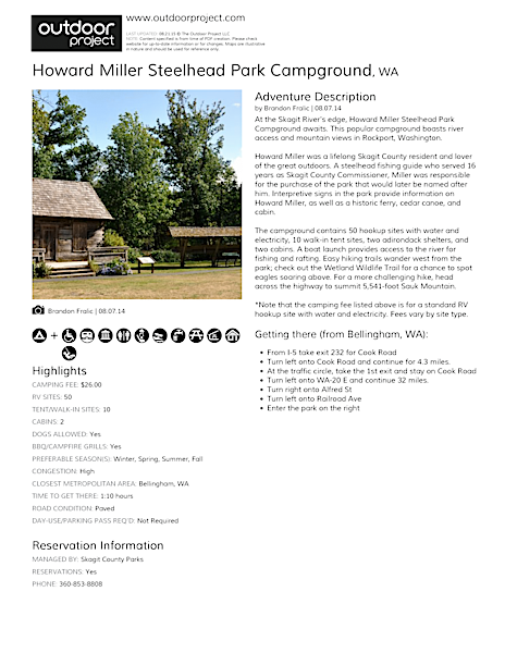 Howard Miller Steelhead Park Campground Field Guide