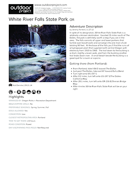 White River Falls State Park Field Guide