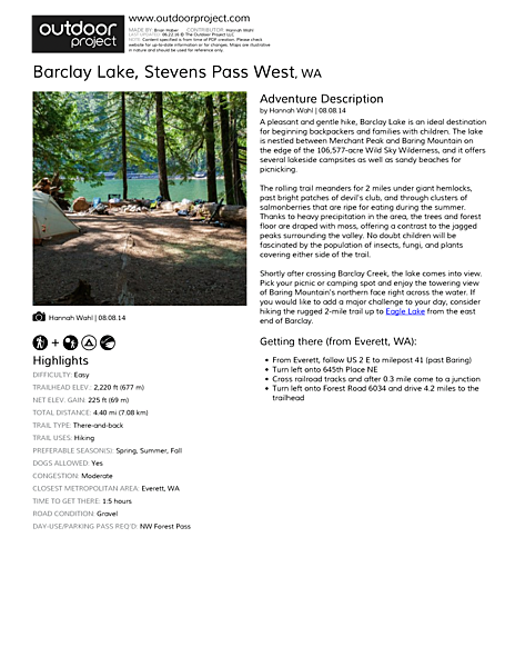 Barclay Lake Field Guide
