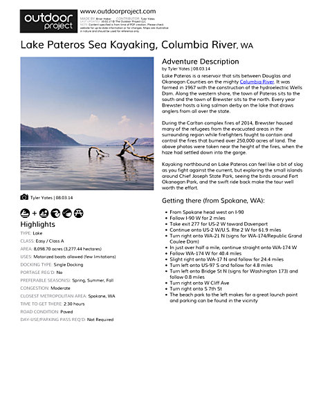 Lake Pateros Sea Kayaking Field Guide