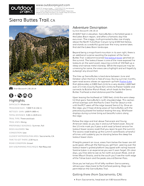Sierra Buttes Trail Field Guide
