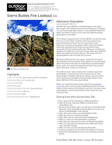 Sierra Buttes Fire Lookout Field Guide