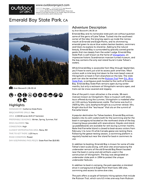 Emerald Bay State Park Field Guide