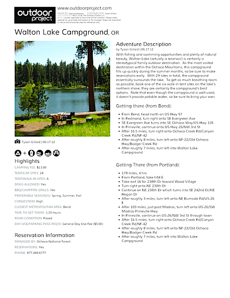 Walton Lake Campground Field Guide