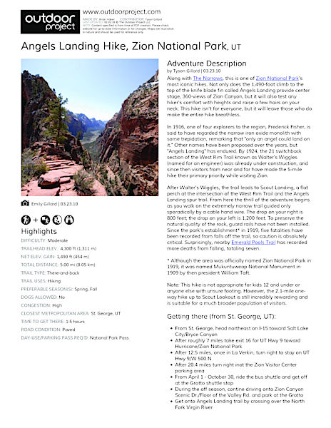 Angels Landing Hike Field Guide