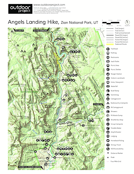 Angels Landing Hike Trail Map
