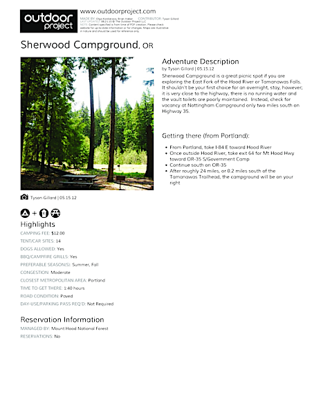Sherwood Campground Field Guide