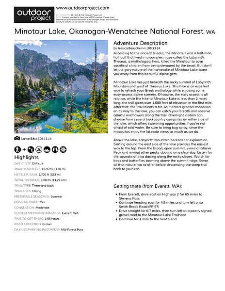 Minotaur Lake Outdoor Project