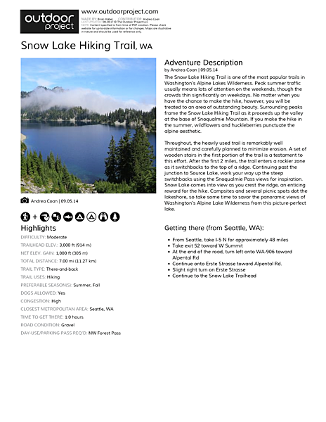 Snow Lake Hiking Trail Field Guide