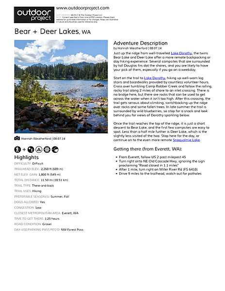 Bear + Deer Lakes Field Guide