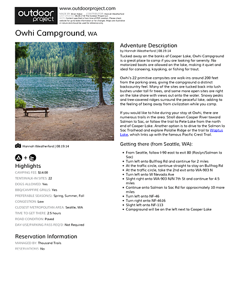 Owhi Campground Field Guide