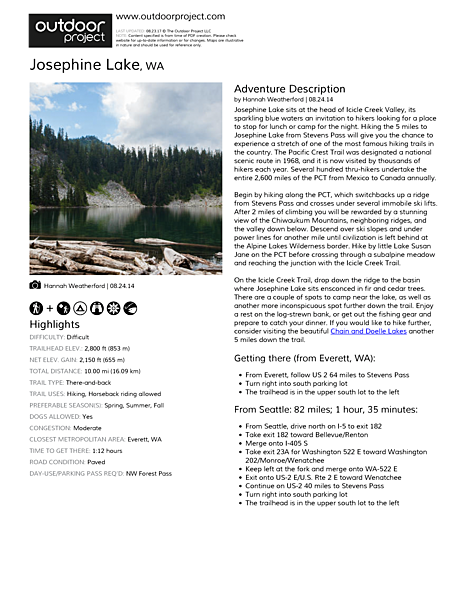 Josephine Lake Field Guide